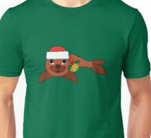 Red Baby Seal with Santa Hat, Holly & Gold Bell Unisex T-Shirt