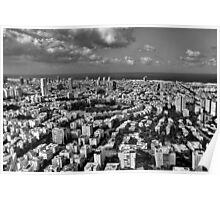 Tel Aviv center in black and white Poster