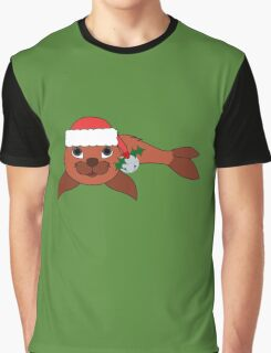 Red Baby Seal with Santa Hat, Holly & Silver Bell Graphic T-Shirt
