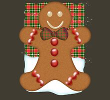 Gingerbread Man T-Shirt With Plaid Womens Fitted T-Shirt