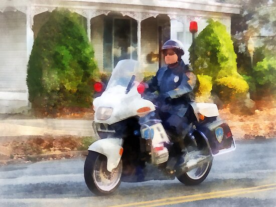 Suburban Motorcycle Cop by Susan Savad
