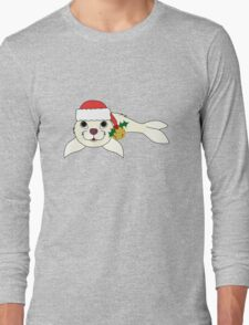 White Baby Seal with Santa Hat, Holly & Gold Bell Long Sleeve T-Shirt