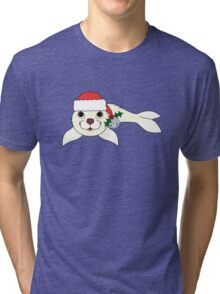 White Arctic Seal with Santa Hat, Holly & Silver Bell Tri-blend T-Shirt