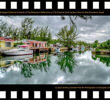 Nostalgia Collection • Islands of The Bahamas • Reflections on The Canal at Coral Harbour Town on New Providence Island by Jeremy Lavender Photography