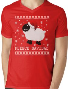 Fleece Navidad Cute Christmas Tshirt Mens V-Neck T-Shirt