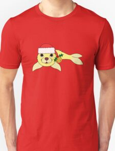 Light Yellow Baby Seal with Santa Hat, Holly & Gold Bell Unisex T-Shirt