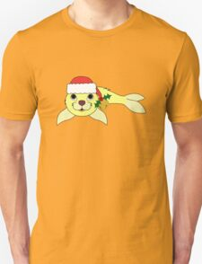 Light Yellow Baby Seal with Santa Hat, Holly & Gold Bell T-Shirt