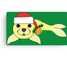 Light Yellow Baby Seal with Santa Hat, Holly & Gold Bell Canvas Print