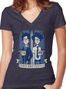 Nerd Britannia Women's Fitted V-Neck T-Shirt