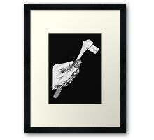 Wrench in Mechanic's Hand, black background Framed Print