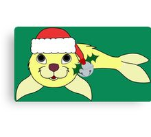 Light Yellow Baby Seal with Santa Hat, Holly & Silver Bell Canvas Print
