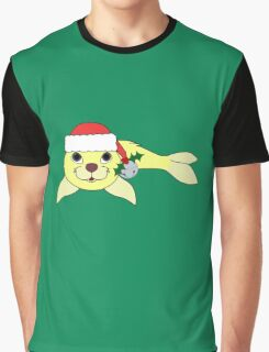 Light Yellow Baby Seal with Santa Hat, Holly & Silver Bell Graphic T-Shirt