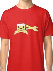 Light Yellow Baby Seal with Santa Hat, Holly & Silver Bell Classic T-Shirt