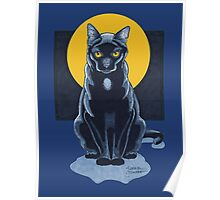 Black Cat With Moon Poster