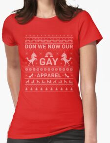 GAY UGLY CHRISTMAS SWEATER Womens Fitted T-Shirt