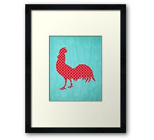 Red Patterned Rooster Silhouette  Framed Print