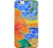 Tropical Beach Hibiscus Coconut Tree Sunrise Painting iPhone Case/Skin