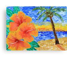 Tropical Beach Hibiscus Coconut Tree Sunrise Painting Canvas Print