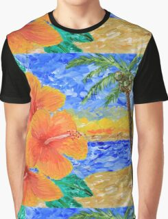 Tropical Beach Hibiscus Coconut Tree Sunrise Painting Graphic T-Shirt