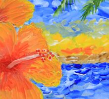 Tropical Beach Hibiscus Coconut Tree Sunrise Painting Sticker