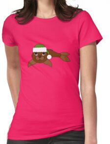 Brown Baby Seal with Christmas Green Santa Hat Womens Fitted T-Shirt