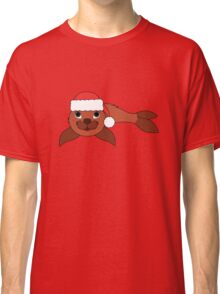 Red Baby Seal with Christmas Red Santa Hat Classic T-Shirt