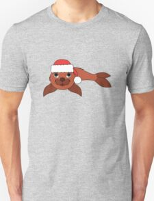 Red Baby Seal with Christmas Red Santa Hat Unisex T-Shirt