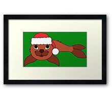 Red Baby Seal with Christmas Red Santa Hat Framed Print