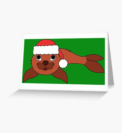Red Baby Seal with Christmas Red Santa Hat Greeting Card