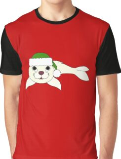 White Baby Seal with Christmas Green Santa Hat Graphic T-Shirt