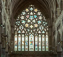 Stained glass window Exeter Cathedral 198101140009 by Fred Mitchell