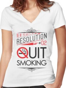 New Year's Resolution #2 - Quit smoking Women's Fitted V-Neck T-Shirt