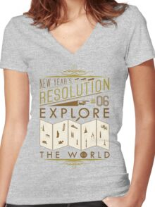 New Year's Resolution #6 - Explore the world Women's Fitted V-Neck T-Shirt