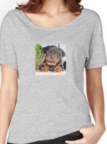Female Rottweiler Puppy Photographic Portrait Women's Relaxed Fit T-Shirt