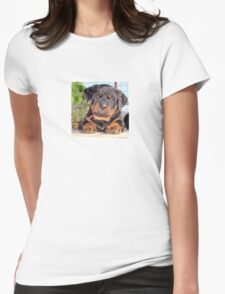 Female Rottweiler Puppy Photographic Portrait Womens Fitted T-Shirt
