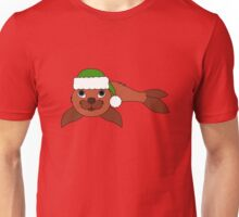 Red Baby Seal with Christmas Green Santa Hat Unisex T-Shirt