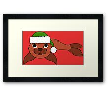 Red Baby Seal with Christmas Green Santa Hat Framed Print