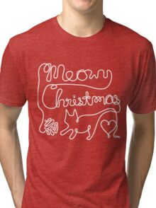 Meowy Christmas - Yarn Cat Love Tri-blend T-Shirt