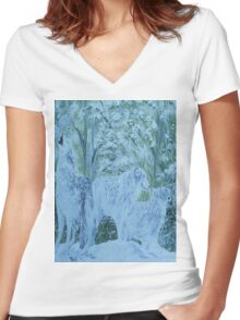Snow Wolves Women's Fitted V-Neck T-Shirt