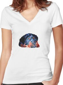 Pop Art Rottweiler Puppy Isolated Women's Fitted V-Neck T-Shirt