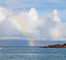 Morning Rainbow, Black Rock - Maui by Barb White