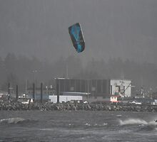 Sailboard with kite. by Carolynn Cumor