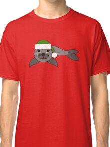 Gray Baby Seal with Christmas Green Santa Hat Classic T-Shirt