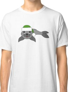 Gray Baby Seal with Christmas Green Santa Hat Classic T-Shirt