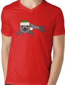 Gray Baby Seal with Christmas Green Santa Hat Mens V-Neck T-Shirt
