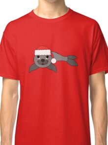Gray Baby Seal with Christmas Red Santa Hat Classic T-Shirt
