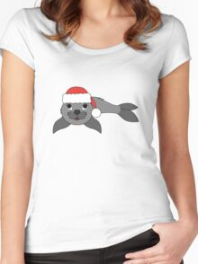 Gray Baby Seal with Christmas Red Santa Hat Women's Fitted Scoop T-Shirt