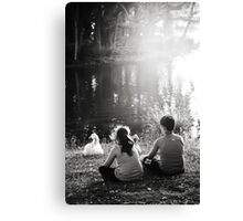 Communing with geese Canvas Print