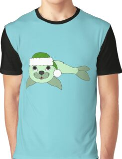 Light Green Baby Seal with Christmas Green Santa Hat Graphic T-Shirt