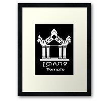 Temple - English and Khmer Framed Print